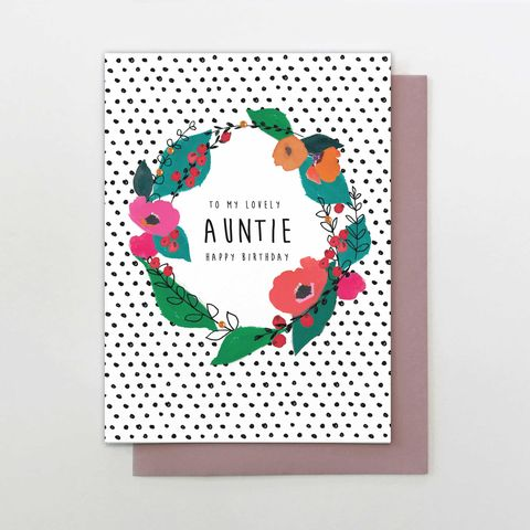 To,My,Lovely,Auntie,Happy,Birthday,Card,buy auntie birthday card online, buy pretty birthday cards for aunties online, buy aunty birthday cards online with flowers, floral wreath and dots pretty auntie birthday cards, buy pretty flowers floral birthday cards for auntie, luxury special birthday