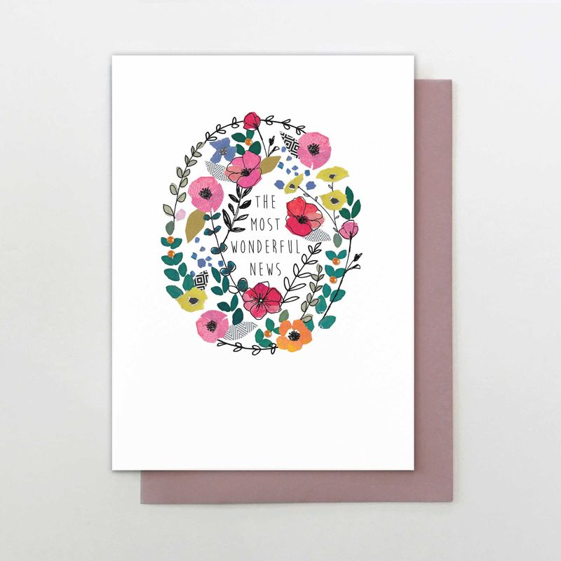 Floral Wreath The Most Wonderful News Card - product images