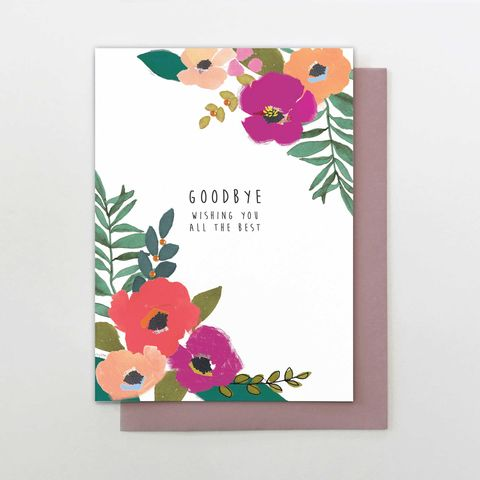 Floral,Goodbye,Wishing,You,All,The,Best,Card,buy goodbye and good luck card online, buy goodbye card for her online, buy sorry you are leaving card for her online, buy pretty floral goodbye card online, buy retirement card for her online, buy maternity leave card online, buy leaving to have a baby c