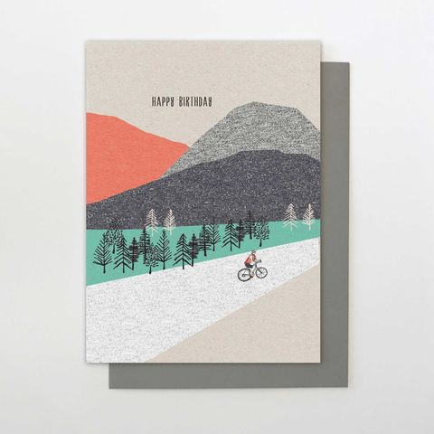 Cyclist,&,Mountain,Birthday,Card,buy birthday cards for him online, buy male birthday cards online, buy cycling birthday cards for men online, buy cyclist and countryside birthday cards online for him, buy birthday cards for cyclists online, buy cards with mountains and countryside onlin