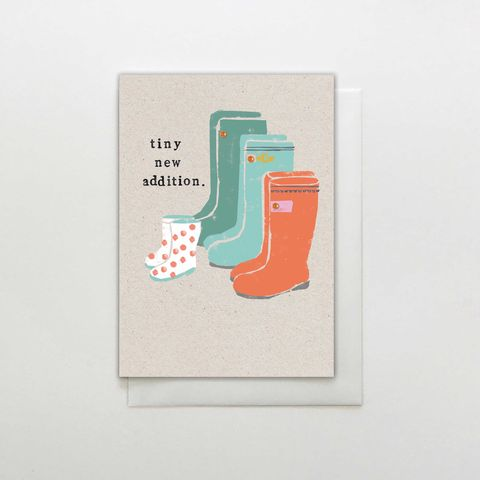 Wellington,Boots,Tiny,New,Addition,new,Baby,Card,buy new baby card online, buy congrats on your new addition card online, buy welcome to the wold new baby girl or boy card online, buy adoption cards online, buy cards for new parents, buy unisex gender neutral new baby cards online