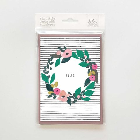 Floral,Wreath,Hello,Note,Cards,-,Pack,of,6,Notelets,buy stationery for her online,  buy pretty notecards with flowers online, buy pck of six hello flowers notecards online, buy floral notecards online, buy luxury stationery with flowers online