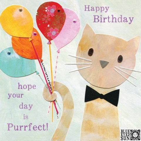 Cat,&,Balloons,Purrfect,Birthday,Card,buy pretty birthday card for her online, buy birthday cards with cats online, buy birthday cards for her online, female birthday cards, girls birthday cards, floral birthday card, buy cat birthday card online,