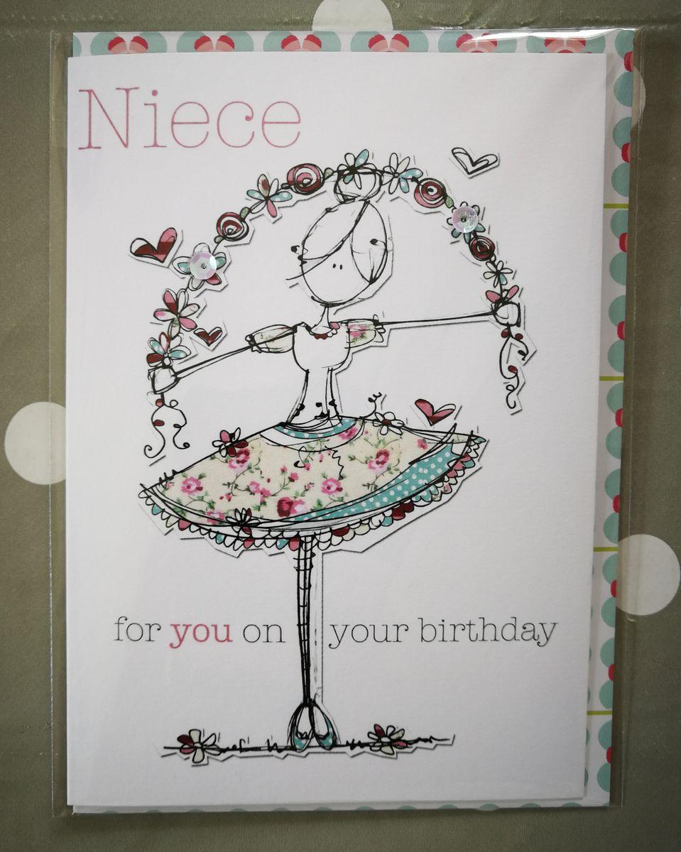 Birthday Card For Niece.Niece Ballerina Birthday Card