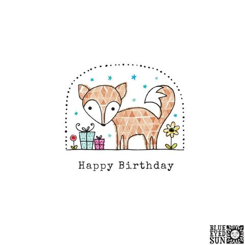 Fox,&,Presents,Birthday,Card,buy fox birthday cards online for her, him, gender neutral, kids, unisex, buy birthday cards with animals online, buy birthday cards with foxes online, buy fox and presents birthday card online, buy blue eyed sun birthday cards online