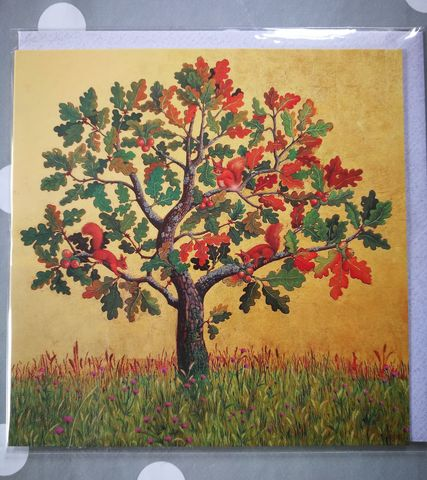 Oak,With,Red,Squirrels,Greetings,Card,-,Perfect,Autumnal,buy autumnal greetings cards online with trees, buy oak tree and red squirrel cards online for autumn, buy squirrel cards online, buy red squirrel cards online, buy cards with trees and nature online, buy cards with animals online