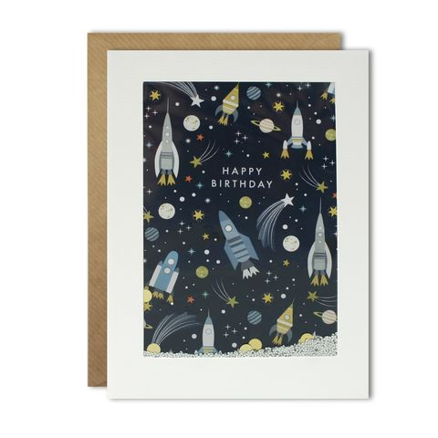 Shakies,Space,&,Rockets,Astronomy,Birthday,Card,buy space birthday cards online, buy rocket spaceship birthday cards for him online, buy planet stars birthday card for astronomer online, buy male birthday cards with space planets rockets online, science eningeer scientist birthday cards with spaceships