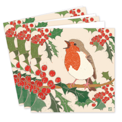 Pack,Of,Singing,Robin,Christmas,Cards,-,Emily,Burningham,buy emily burningham  christmas cards online, buy luxury christmas cards online with robins, robin, holly, berries beautiful packs of christmas cards, christmas cards for friends, family and colleauges, made in england christmas cards