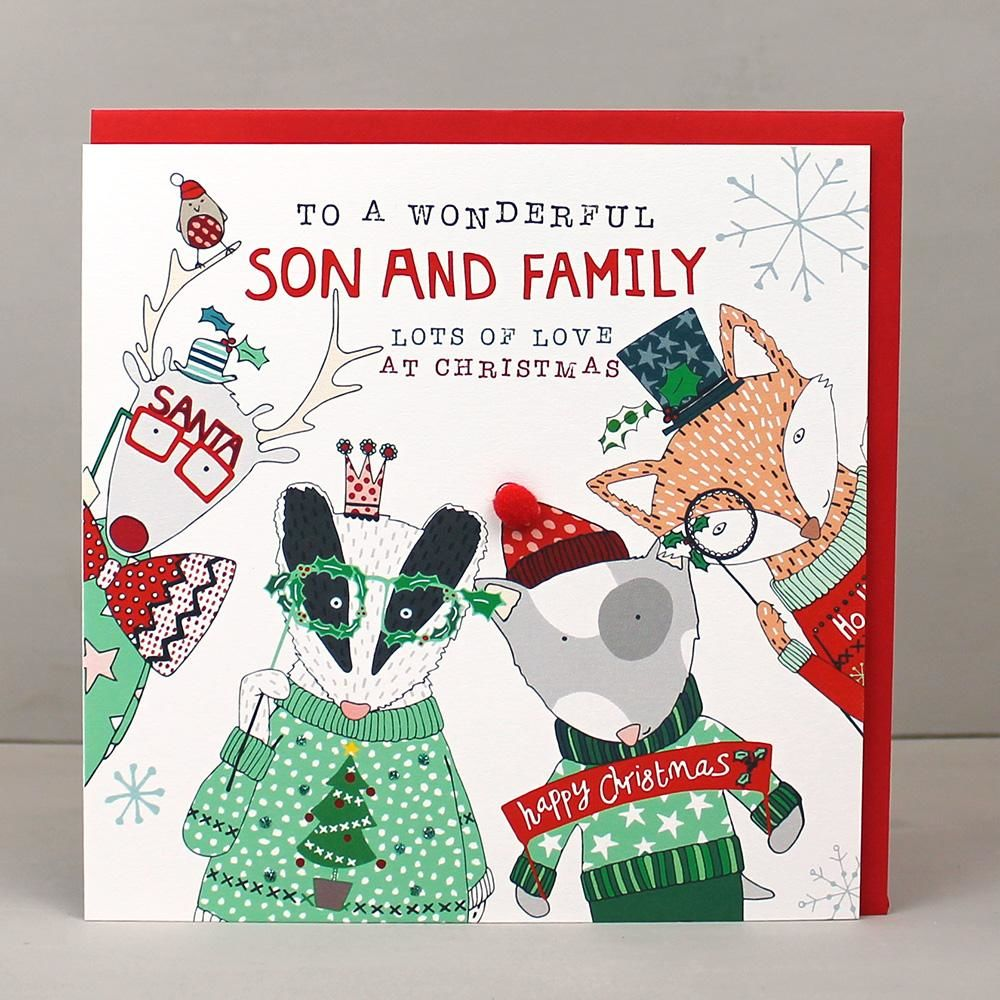 To A Wonderful Son And Family Christmas Card - Karenza Paperie