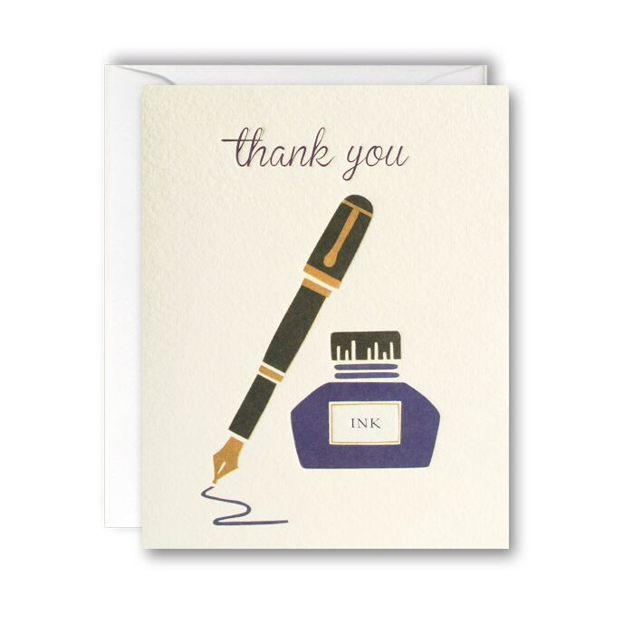 Ink Pen Thank You Cards - Pack of 5 Mini Cards - product images