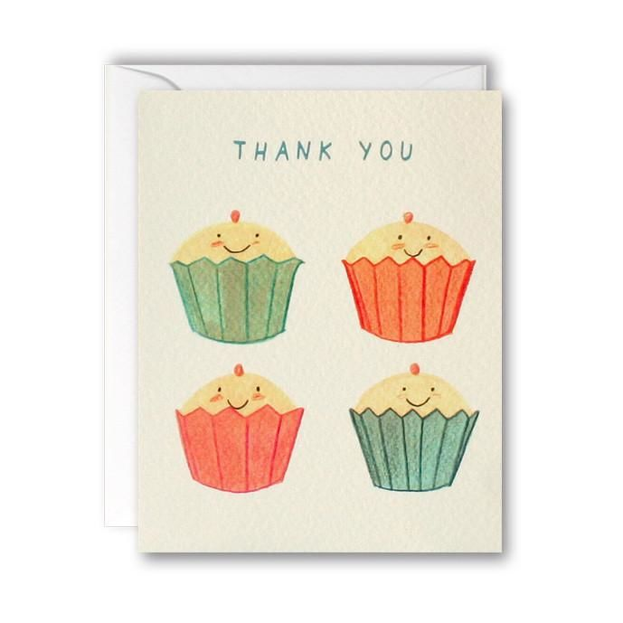Cupcake Thank You Cards - Pack of 5 Mini Cards - product images