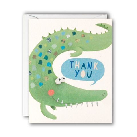 Crocodile,Thank,You,Cards,-,Pack,of,5,Mini,buy packs of thank you cards online, buy thank you stationery online, buy animal note cards online for boys, buy kids thank you notelets online with crocodiles reptiles animals, buy childrens notecards online, buy stationery online, buy childrens notelets