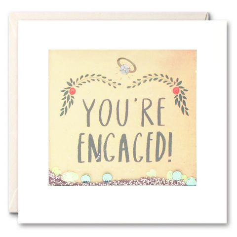 Shakies,You're,Engaged,Card,buy shakies cards online, buy special you're engaged cards online with confetti, buy engagement cards for special couple online, buy pretty engagement cards online, buy you are engaged congratulations cards online