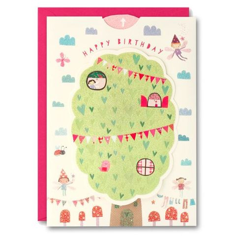 Fairy,Tree,House,Ups,&,Downs,Card,-,Child's,Birthday,buy girls birthday card online, buy fairy birthday cards online, buy birthday cards with fairies online, buy ups and downs birthday cards for kids online, buy birthday cards for girls online