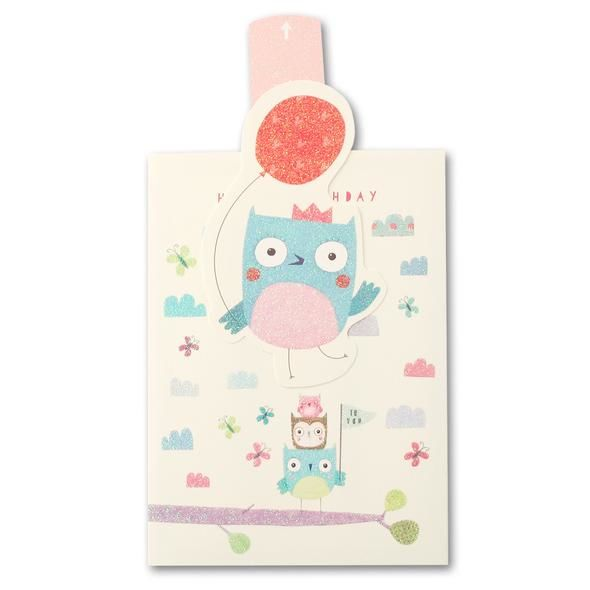 Owl Ups & Downs Card - Child's Birthday Card - product images  of