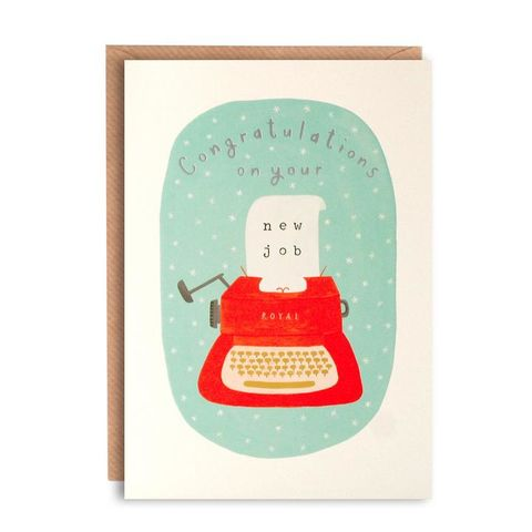 Typewriter,Congratulations,On,Your,New,Job,Card,buy new job card online, buy congratulations on your new job card online, buy typewriter congrats on your new job card online, well done on your new job we will miss you leaving card online,