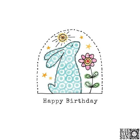 Bunny,Rabbit,&,Flower,Birthday,Card,buy bunny rabbit birthday cards online for her, him, gender neutral, kids, unisex, buy birthday cards with animals online, buy birthday cards with bunnies rabbits online, buy bunny rabbit and flower birthday card online, buy blue eyed sun birthday cards o