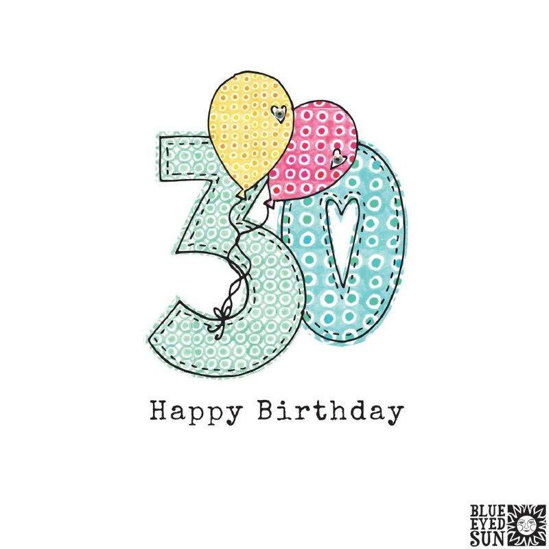 Balloons 30th Birthday Card