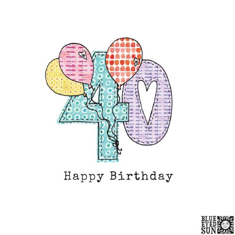 Balloons 40th Birthday Card