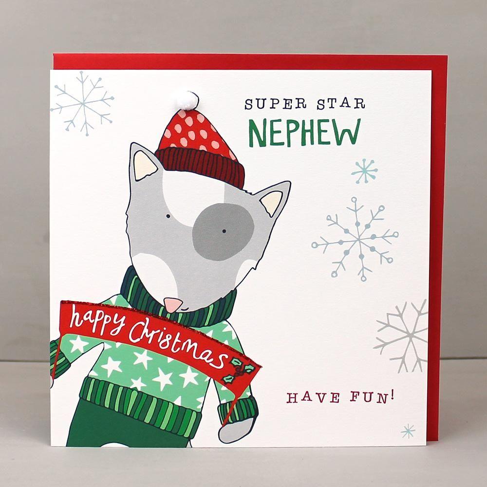 Dog Christmas Cards.Dog Nephew Christmas Card