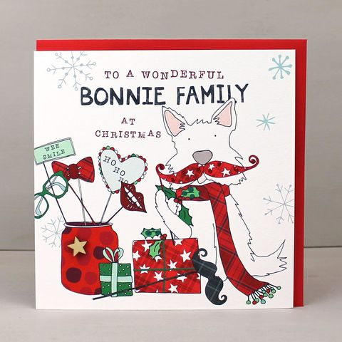 To,A,Wonderful,Bonnie,Family,Scottish,Christmas,Card,buy to a bonnie family scottish christmas card online, buy scottish christmas cards online, buy special family scottish christmas cards, bonnie family christmas cards with dog online, buy scottish christmas cards for special family friends families relati