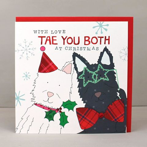 Tae,You,Both,Scottish,Christmas,Card,buy tae you both scottish christmas card online, buy scottish christmas cards online, buy to you both christmas card from scotland online, buy special couple scottie dog christmas cards online, buy special couple christmas cards online