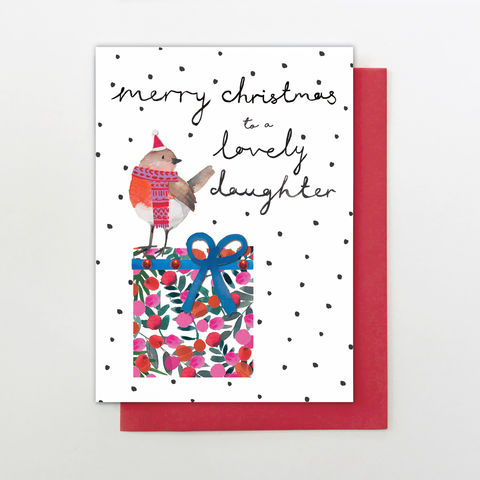 Hand,Finished,Daughter,Christmas,Card,buy daughter christmas cards online, buy wonderful daughter christmas cards online, buy hand finished christmas cards online for daughters, buy daughter christmas card from mum and dad mums dads parent parents, buy robin christmas cards for lovely daughte