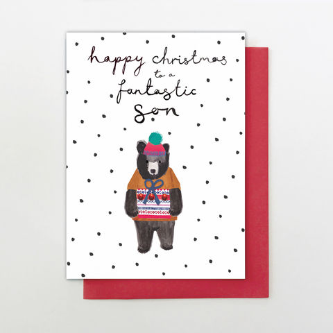 Hand,Finished,Son,Christmas,Card,buy son christmas cards online, buy wonderful son christmas cards online, buy hand finished christmas cards online for sons, buy son christmas card from mum and dad mums dads parent parents, buy bear christmas cards for lovely son