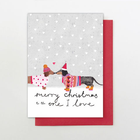Dachshunds,To,The,One,I,Love,Christmas,Card,buy sausage dog to the one i love christmas card online, buy dachshund my someone special christmas card online, buy to the one i love christmas card online, buy partner chistmas card online, buy love christmas cards for partner wife husband girlfriend bo