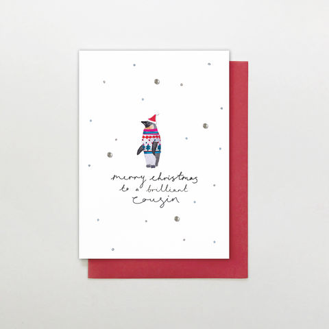 Hand,Finished,Cousin,Christmas,Card,buy cousin christmas cards online, buy cousin christmas cards online, buy hand finished christmas cards online for cousins, buy cousin christmas card from cousin and family, buy penguin christmas cards for cousins