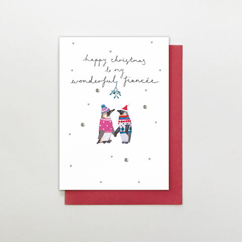 Penguins,To,My,Wonderful,Fiancée,Christmas,Card,buy fiancée christmas cards online, buy christmas cards for fiancées online, buy fiancee cards online, buy to the one i love christmas cards online, buy hand finished christmas cards online, wonderful fiancée card,  fiance card,  christmas cards for fianc