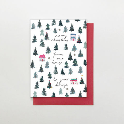 Hand,Finished,From,Our,House,To,Your,Christmas,Card,buy from our house to yours christmas card online, buy from our house to your house christmas card online, buy luxury christmas cards from our house all of us online, buy from the family friends christmas cards with houses online, special friends or famil