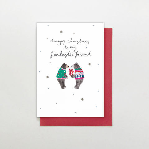 Hand,Finished,To,My,Fantastic,Friend,Christmas,Card,buy friend christmas card online, buy christmas cards for best friends online, buy bear animals christmas cards for special friend online, buy fantastic friend christmas card online with bears,