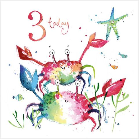 Crabs,3,Today,Birthday,Card,buy unisex 3rd birthday cards online  buy animal 3rd birthday cards online, buy under the sea birthday cards online, buy 3rd birthday cards online, buy age three birthday card for little boy online, crabs birthday card, animal age 3 birthday cards,