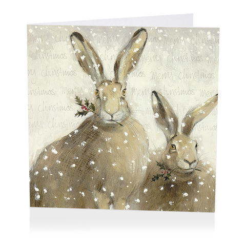 Pack,Of,Festive,Hares,Christmas,Cards,-,Shelter,Charity,buy shelter charity christmas cards online, buy luxury christmas cards online with animals, buy hare christmas cards online, buy pack of christmas cards with hares, buy animal and bird christmas cards online