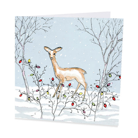 Pack,Of,One,Snowy,Night,Deer,Christmas,Cards,-,Shelter,Charity,buy shelter charity christmas cards online, buy luxury christmas cards online with deer, buy deer christmas cards online, buy pack of christmas cards with reindeer robin, buy animal and bird christmas cards online, buy robin christmas cards online