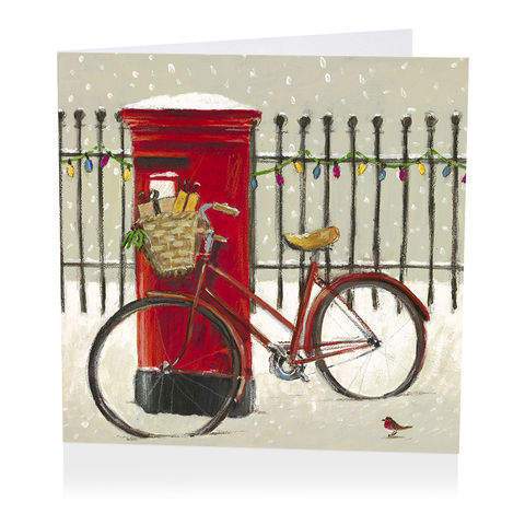 Pack,Of,Postbox,&,Bicycle,Christmas,Cards,-,Shelter,Charity,buy shelter charity christmas cards online, buy luxury christmas cards online with postbox, buy postbox and bicycle christmas cards online, buy pack of christmas cards with snow and presents, buy charity christmas cards online, buy bicycle and snow christ