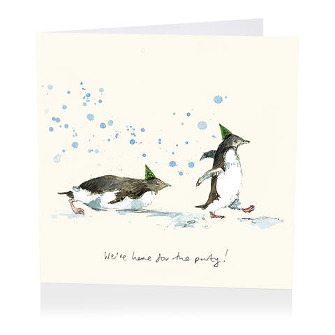 Penguins,We're,Here,For,The,Party,Birthday,Card,buy birthday cards for him online, buy birthday cards for her online, buy penguin birthday cards online, buy birthday cards online with penguins, penguin birthday cards, bird birthday cards