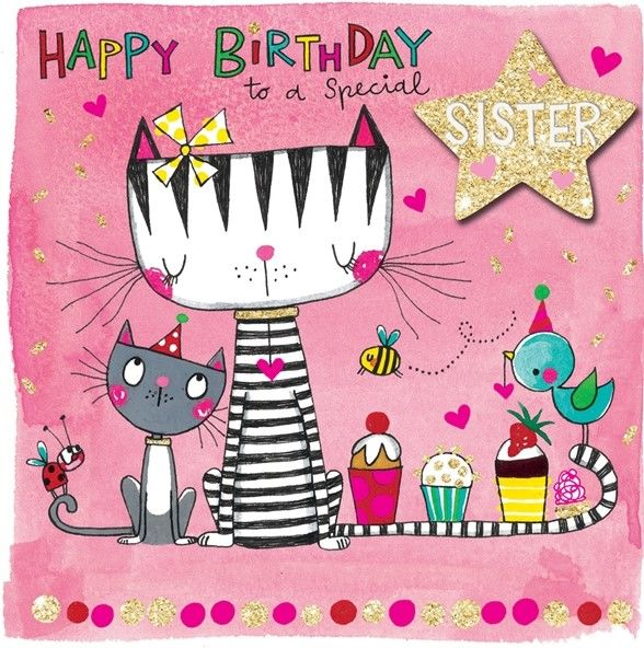 Cats Amp Cupcakes Special Sister Birthday Card