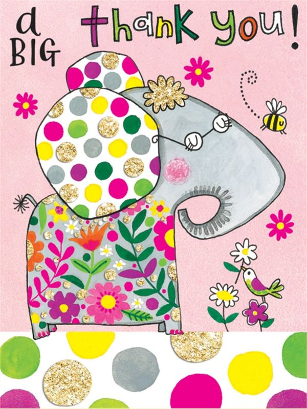 Rachel Ellen Pack of 5 Thank You Note Cards - Elephant Design - product images  of
