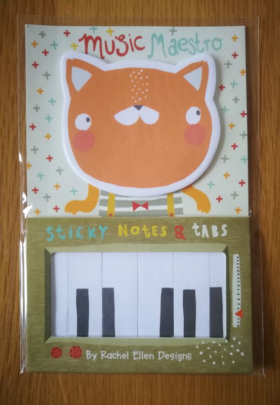 Rachel Ellen Sticky Notes And Tabs - Piano Cat Music Maestro Design - product images  of