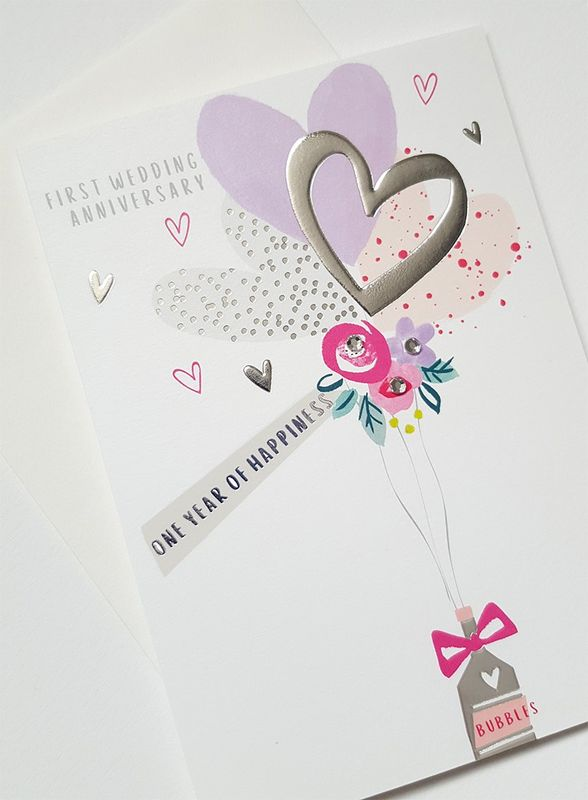Hand Finished One Year of Happiness First Wedding Anniversary Card - product images  of