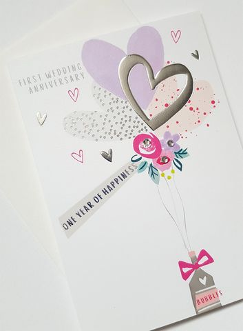 Hand,Finished,One,Year,of,Happiness,First,Wedding,Anniversary,Card,buy anniversary cards with hearts online, buy romantic wedding anniversary cards online for special couple, buy first wedding anniversary cards online, buy one year of happiness wedding anniversary cards online for special couple friends relations, bottle