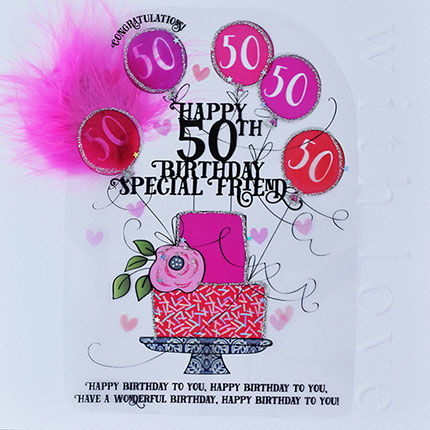 Handmade,Friend,50th,Birthday,Cake,Card,-,Large,,Luxury,buy friend 50th birthday card online, buy age fifty birthday card for special friend online, buy best friend fiftieth brithday card online, large 50 birthday card for special friend, luxury age fifty card for friend, birthday cards for best friends, speci