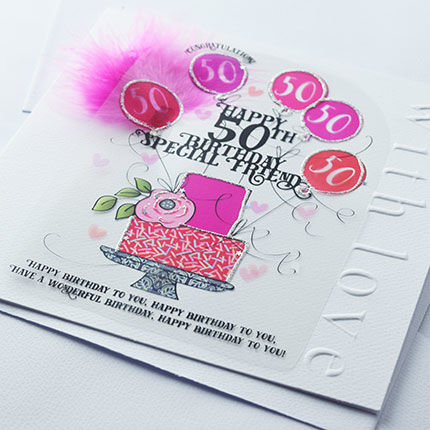 Handmade Friend 50th Birthday Cake Birthday Card - Large, Luxury Birthday Card - product images  of