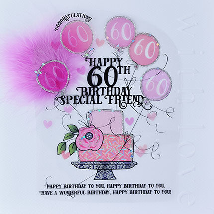 Handmade Friend 60th Birthday Cake Birthday Card - Large, Luxury Birthday Card - product images  of