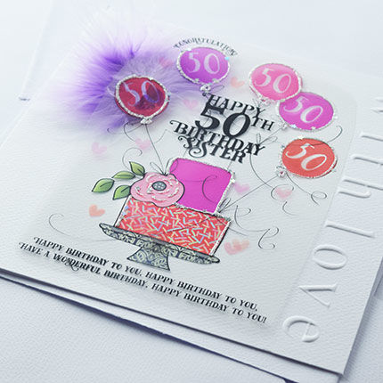 Handmade Sister 50th Birthday Cake Birthday Card - Large, Luxury Birthday Card - product images  of