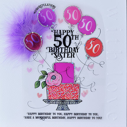 Handmade,Sister,50th,Birthday,Cake,Card,-,Large,,Luxury,buy sister 50th birthday card online, 50th birthday card for sister, cards for sisters, fiftieth brithday card, large 50 birthday card for sister, luxury age fifty card for sister, fiftieths, fifty birthday cards,