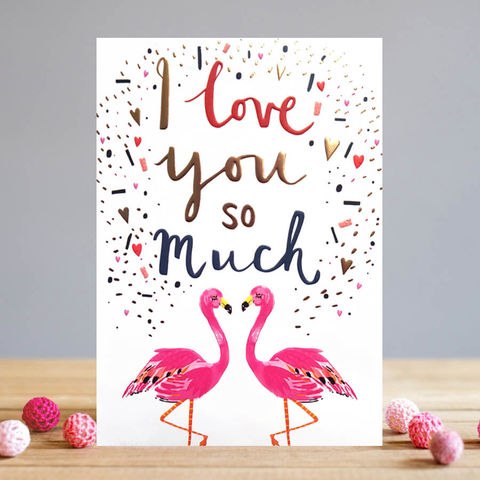 Flamingo,I,Love,You,So,Much,Valentine's,Day,Card,buy valentines day cards online with flamingos, buy beautiful i love you so much valentines day cards online, buy valentines day cards for wife, girlfriend, fiancee, partner online with birds hearts, buy valentines day cards for the one i love online