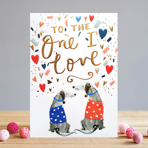 Dogs,To,The,One,I,Love,Valentine's,Day,Card,buy valentines day cards online with dogs, buy beautiful to the one i love valentines day cards online, buy valentines day cards for wife, girlfriend, fiancee, partner online with dogs hearts, buy valentines day cards for the one i love online, buy boyfri